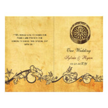 Rustic shabby  compass nautical Wedding program