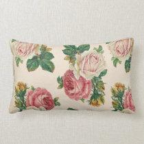 Rustic Shabby Rose Floral Pattern Pink Roses Lumbar Pillow