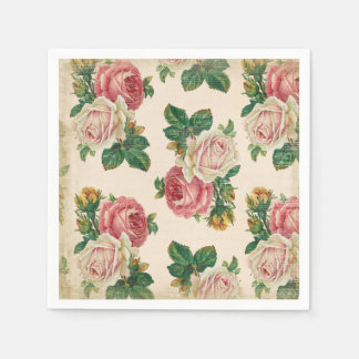 Rustic Shabby Rose Floral Pattern Pink Roses Paper Napkin