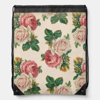 Rustic Shabby Rose Floral Pattern Pink Roses Drawstring Bag