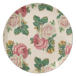 Rustic Shabby Rose Floral Pattern Pink Roses Dinner Plates