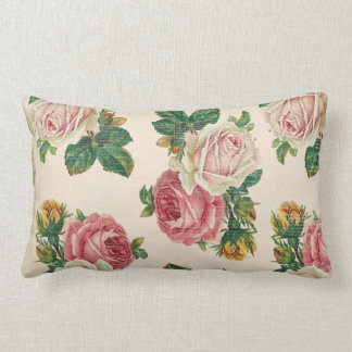 Rustic Shabby Rose Floral Pattern Pink Roses Throw Pillow