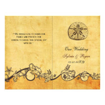 Rustic shabby sand dollar beach Wedding program