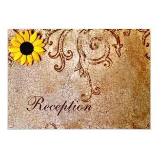 Rustic Shabby Sunflowers Brown Wedding Card