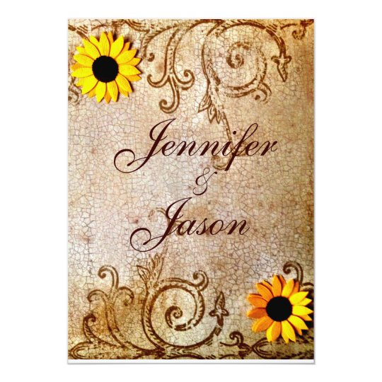 Rustic Shabby Sunflowers Chic Brown Wedding Card