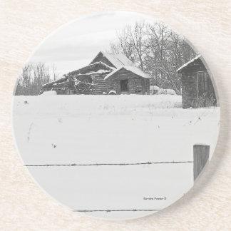 Rustic Shacks Winter Scene Coaster