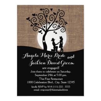 Rustic Silhouette Country Couple Engagement Party Card
