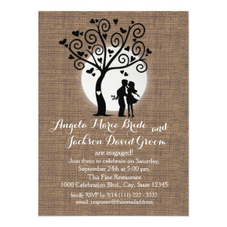 Rustic Silhouette Couple Engagement Party Card