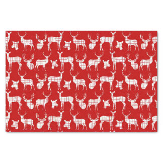"""Rustic Silhouette Deer on Red Tissue Paper 10"""" X 15"""" Tissue Paper"""