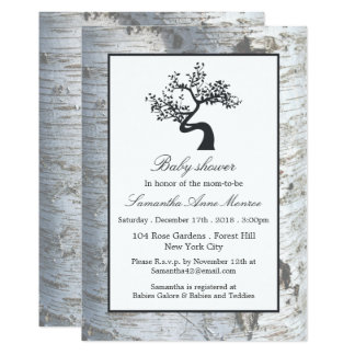 Rustic Silver Birch Tree Baby Shower Card