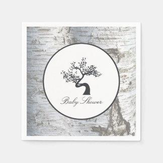 Rustic Silver Birch Tree Baby Shower Paper Napkin