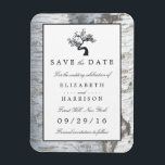 """Rustic Silver Birch Tree Save The Date Magnet<br><div class=""""desc"""">These save the date wedding magnets are perfect for any couple planning an elegant rustic country marriage. The design features a bonsai tree design on a rustic birch wood effect background. The simple design can be personalized to suit your special event and will be the perfect announcement for any country...</div>"""