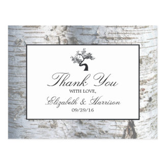 Rustic Silver Birch Tree Wedding Thank You Postcard