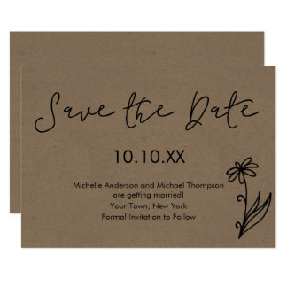 Rustic Simple Botanical Daisy Save the Date Card