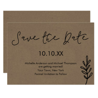 Rustic Simple Botanical Save the Date Card