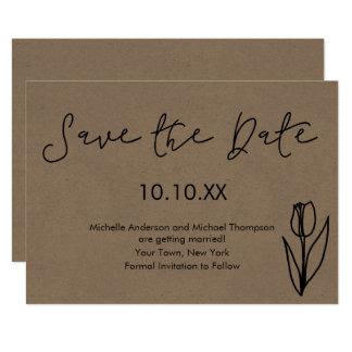 Rustic Simple Botanical Tulip Save the Date Card