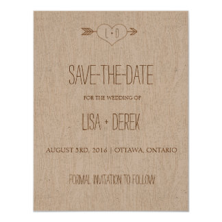 Rustic Simple Woodgrain Save the Date Card