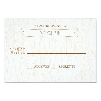 Rustic Simple Woodgrain Wedding Reply Card