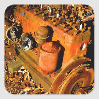 Rustic Six Cylinder Engine Square Sticker
