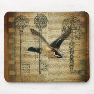 rustic skeleton keys western country mallard duck mouse pad