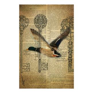 rustic skeleton keys western country mallard duck stationery