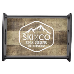 Rustic Ski Lodge Mountain Aspen Colorado Wood Serving Tray