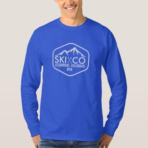 Rustic ski mountain steamboat springs colorado t shirt for T shirt printing in colorado springs