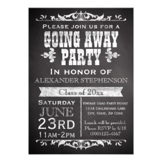 Rustic Slate Chalkboard Vintage Going Away Party Cards
