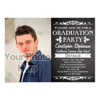 Rustic Slate Vintage Custom Graduation Party Photo Card
