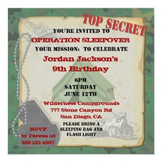 """Rustic Sleepover Party Invitation 5.25"""" Square Invitation Card"""
