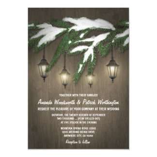 Rustic Snow Evergreen Lantern Wedding Invitations