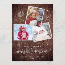 Rustic Snowflake | 3 Photo Christmas Card