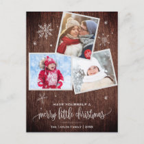 Rustic Snowflake | 3 Photo Christmas Holiday Postcard