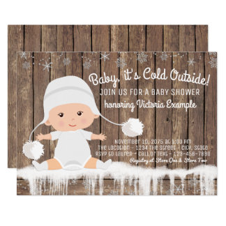 Rustic Snowflake Baby its Cold Outside Baby Shower Card