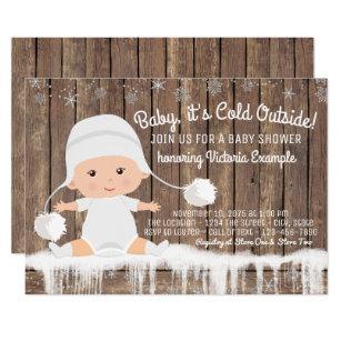 Snowflake baby shower invitations zazzle rustic snowflake baby its cold outside baby shower invitation filmwisefo