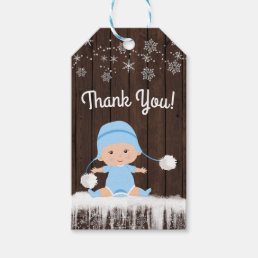 Rustic Snowflake Boy Baby Shower Favor Gift Tags