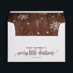 """Rustic Snowflake Christmas Envelope<br><div class=""""desc"""">These rustic snowflake christmas envelopes are perfect for a modern holiday card or invitation. The design features falling snowflakes and the festive phrase &quot;have yourself a merry little christmas&quot;. Personalize the envelope flap with your name and return address.</div>"""