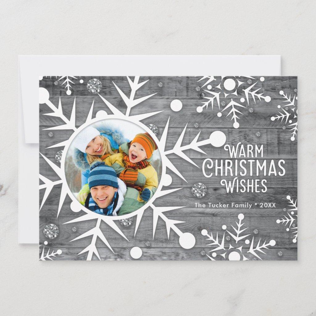 Rustic Snowflake Frame on Wood Christmas Photo Holiday Card