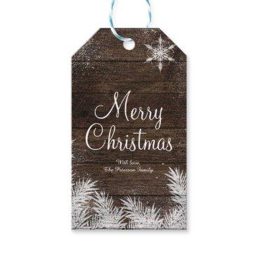 Christmas Themed Rustic snowflake wood winter christmas holiday gift tags