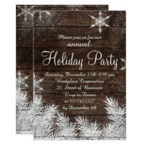 Rustic snowflake wood winter corporate holiday invitation