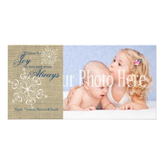 Rustic Snowflakes and Burlap Photo Cards