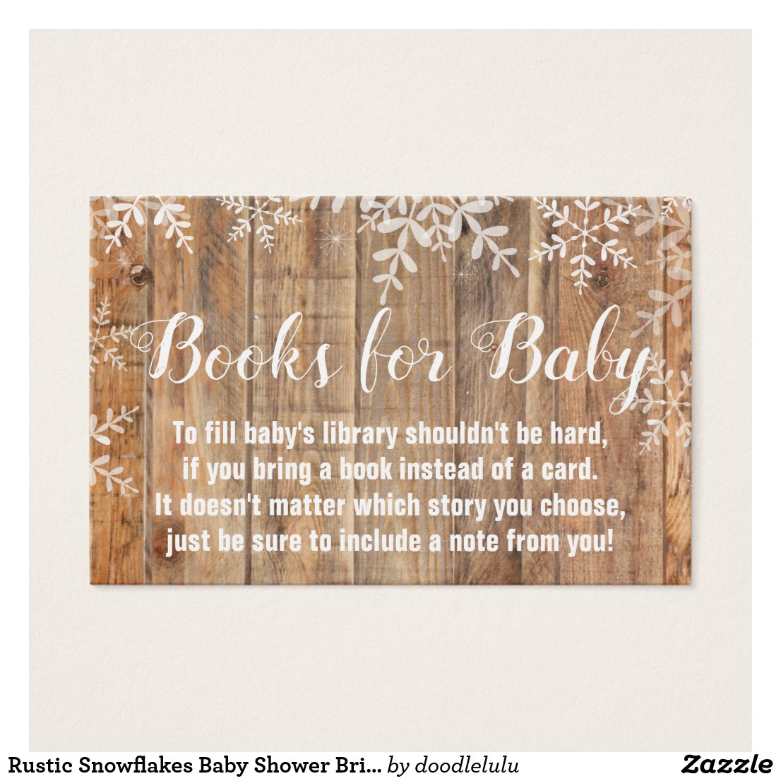 Rustic Snowflakes Baby Shower Bring a Book