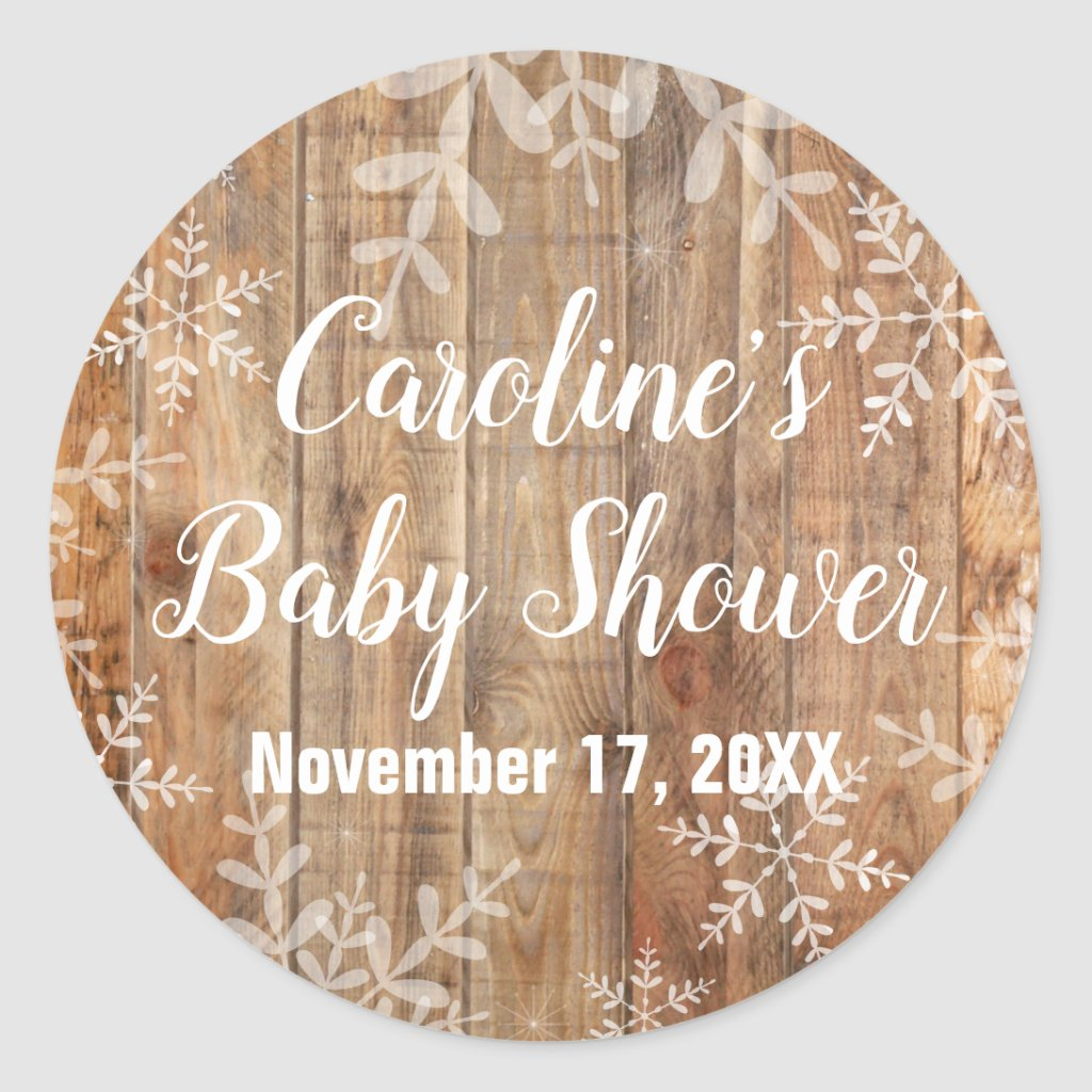 Rustic Snowflakes Baby Shower Classic Round Sticker