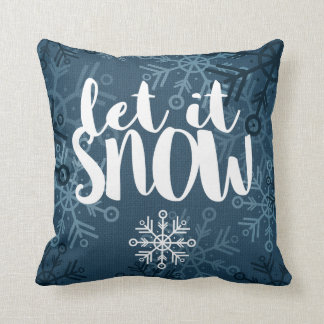 Rustic Snowflakes on Blue Burlap | Let It Snow Throw Pillow