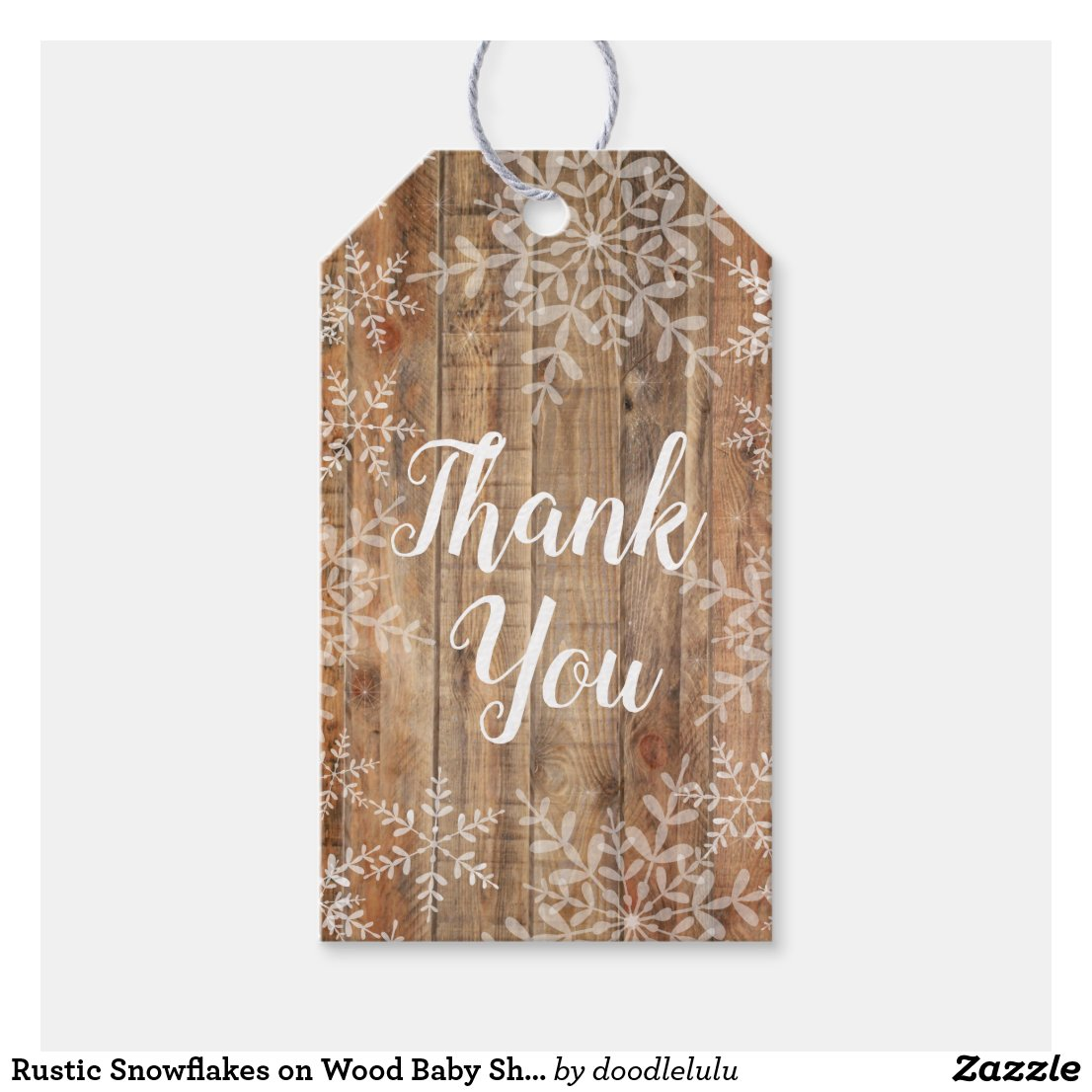 Rustic Snowflakes on Wood Baby Shower Gift Tags