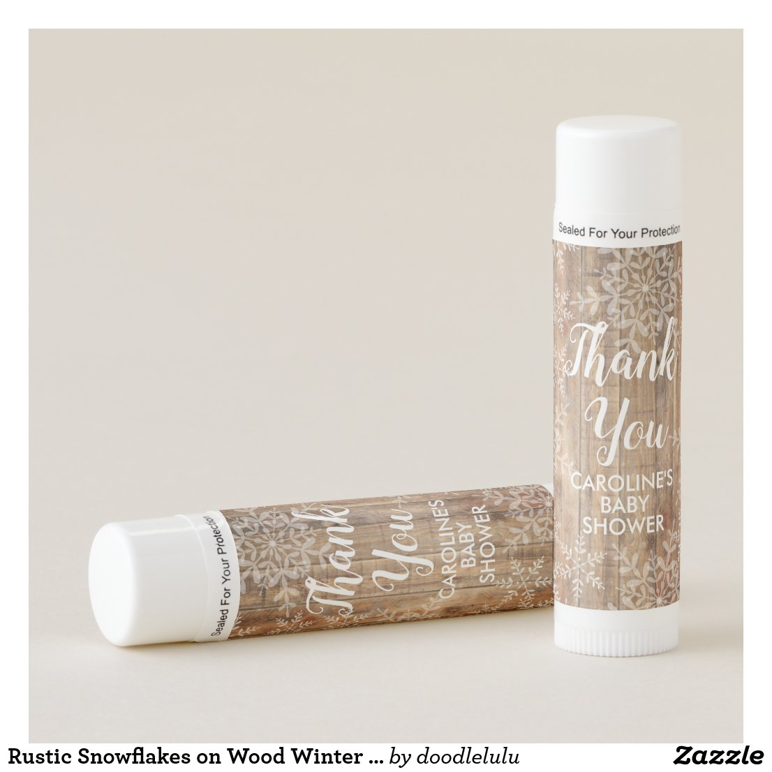 Rustic Snowflakes on Wood Winter Baby Shower Lip Balm