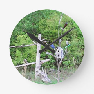 Rustic Southern Bottle Tree Knotted Pine Birdhouse Round Wall Clocks