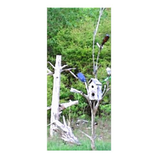 Rustic Southern Bottle Tree Knotted Pine Birdhouse Rack Card