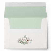 Rustic Southern Cotton Mint Wedding Invitation Envelope