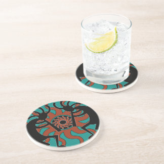 Rustic Southwestern Kokopelli Turquoise Drink Coaster